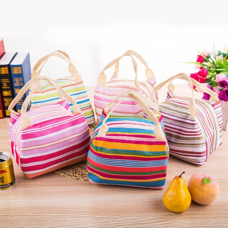 Camping Picnic Bag Cooler Box Striped Rainbow Thermal Bag for Waterproof Oxford Lunch Bag Food Large Capacity Picnic Basket
