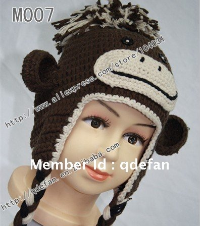 Free Shipping30lot Crochet Brown Soft Monkey Hatsanimal Hat