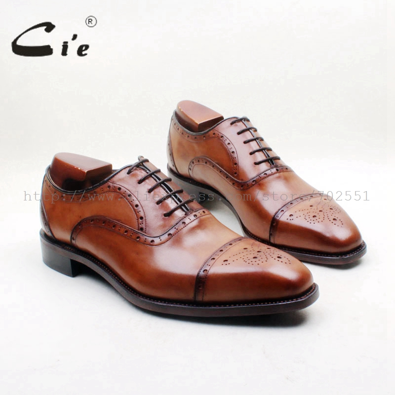 cie Square Toe Semi-brogues Lace-up Cut-outs Hand-painted Brown Italian Goodyear Welted 100% Genuine Calf Leather Man Shoe OX714 cie square toe semi brogues lace up oxfords patina purple 100%genuine calf leather bottom outsole goodyear welted men shoeox678