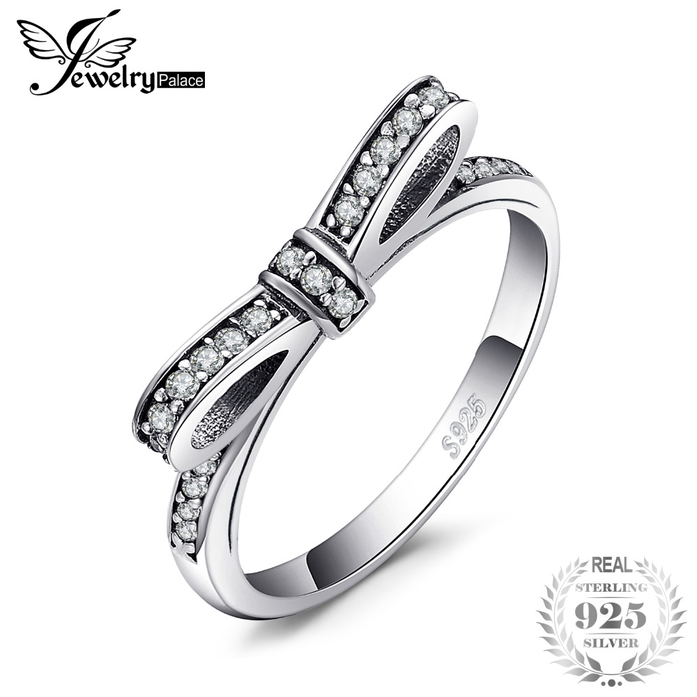 Jewelrypalace 925 Sterling Silver Simple Bowknot Clear Cubic Zirconia Ring Anniversary Gifts For Women/Girl Fashion Jewelry New
