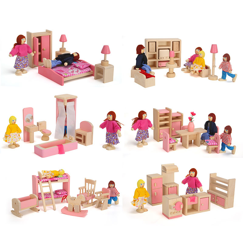 Wooden Miniature Dollhouse Furniture Toys Set Bedroom Kitchen Dinner Room Bathroom Living Room Pretend Play Toy Shop S7