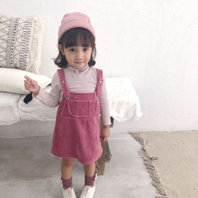 b259c00a3f429 Autumn Winter new arrival baby girls corduroy overalls dresses 2018  children suspender dress kids fashion jumpsuits 1-5Y