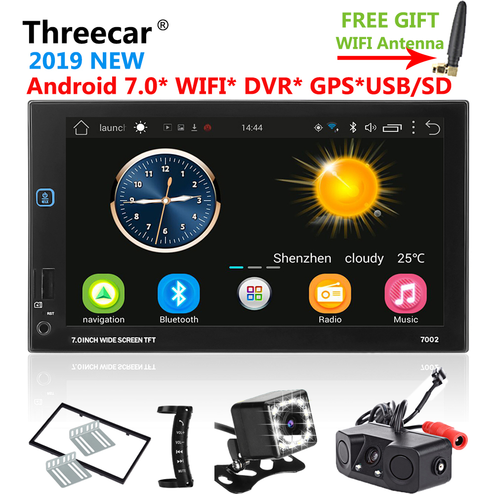 Android GPS Navigation Wifi Bluetooth 7 inch Universal 2din Car Radio Stereo USB FM DVR DTV