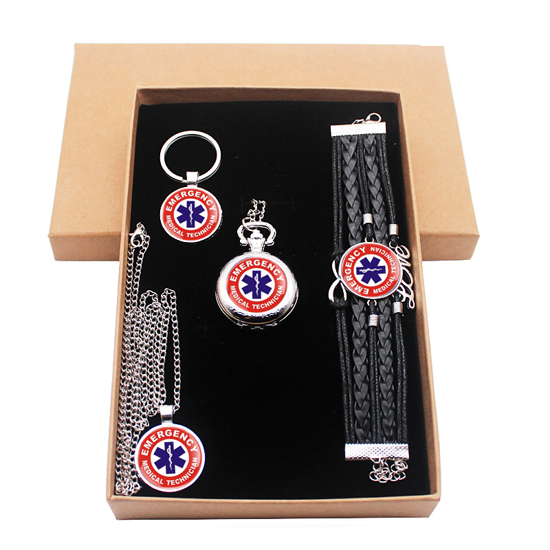 New Fashion Classic EMT Emergency Medical Technician Paramedic Badge Jewelry Gift Set With Gift Box Have Pocket Watch Key Chian