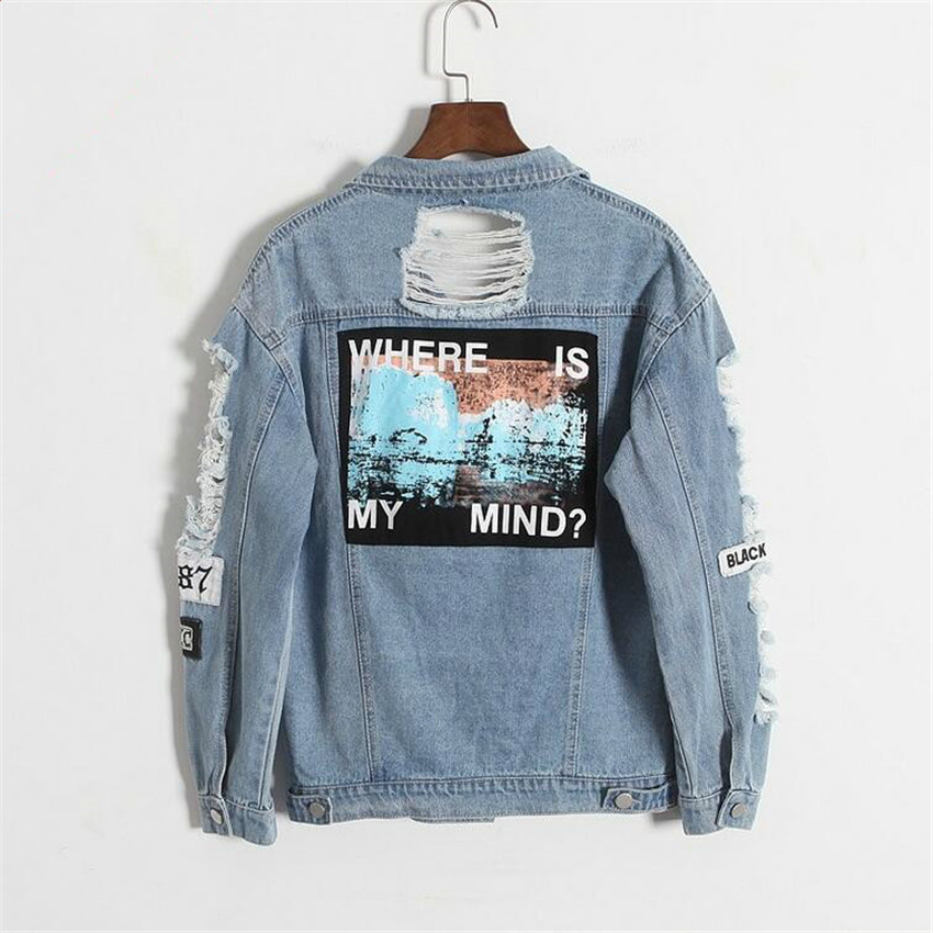 Korea Kpop retro washing frayed embroidery letter patch bomber jacket Blue Ripped Distressed Denim Coat Female Where is my mind?