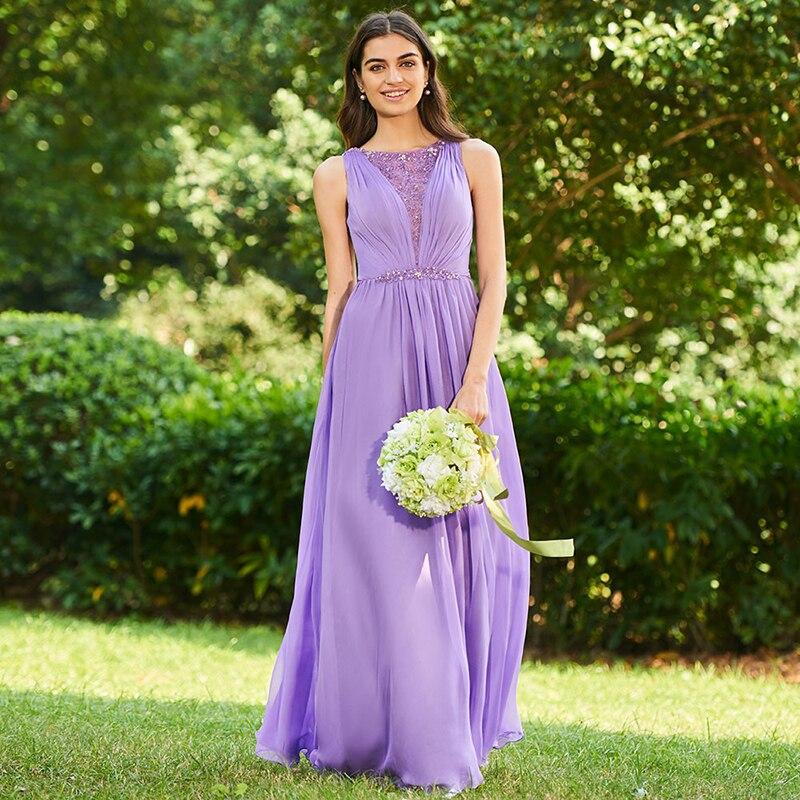 Tanpell beaded bridesmaid dress dark lilac sleeveless floor length a line  gown women wedding back button long bridesmaid dresses-in Bridesmaid Dresses  from ... 45ab28887198