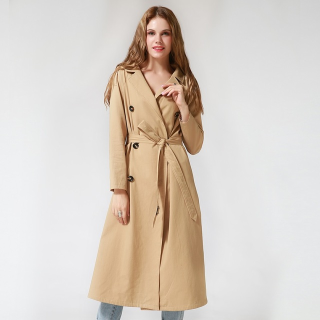 Women Casual Single Breasted X-Long Female Khaki Windbreaker with Sashes Female Autumn Winter Trench Coat Lady Outerwear Talever