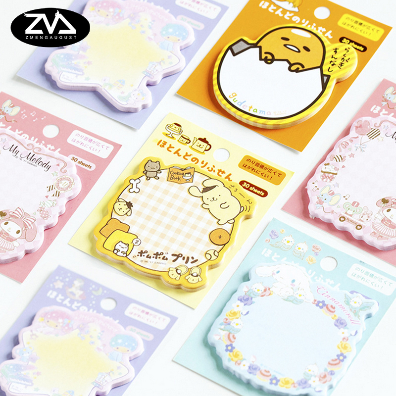 1X  Japan's sanrio sticky note Post  Memo Pad Kawaii School Supplies Planner Stickers Paper Bookmarks Korean Stationery creative paper diary planner stickers sheet to do list time post it schedule office and school supplies cheap korean stationery
