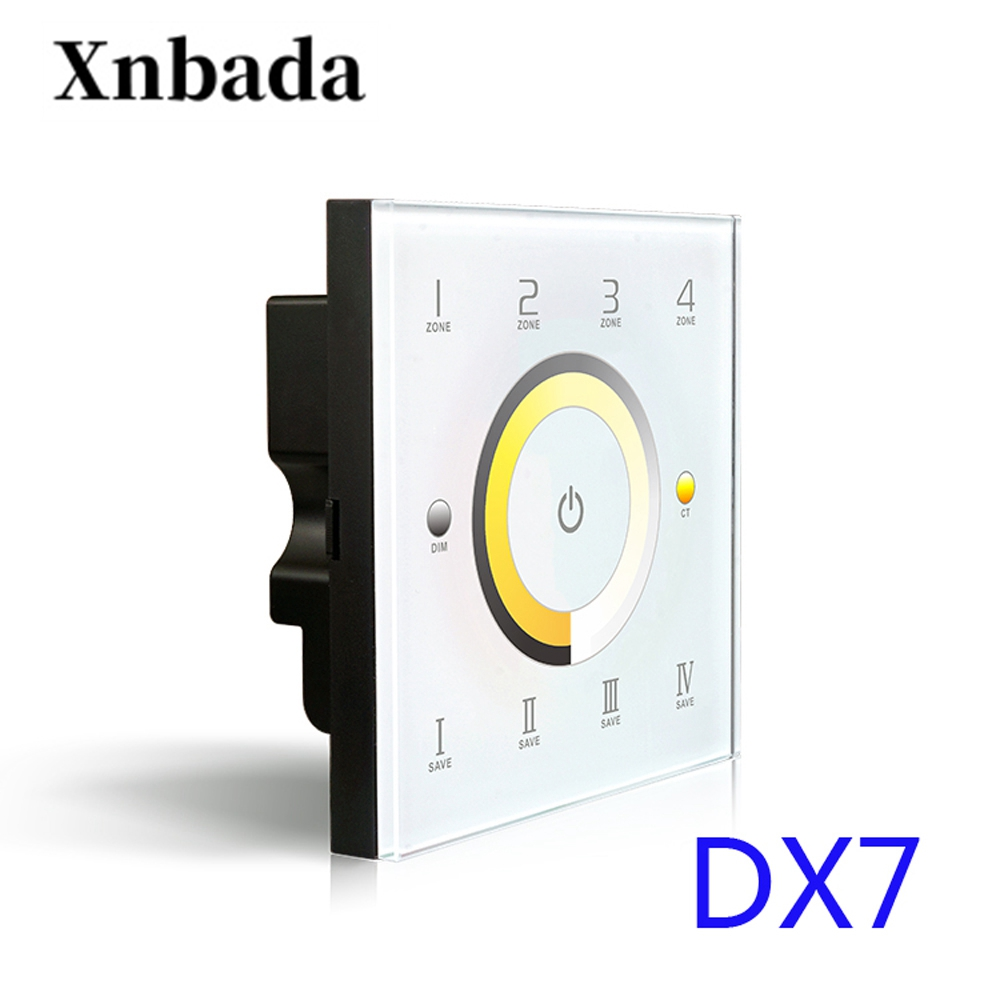 DX7 Touch Panel Wall Mount LED Color Temperature Adjustable CT Controller 2.4G Wireless 4 Zones Control DMX512 Output