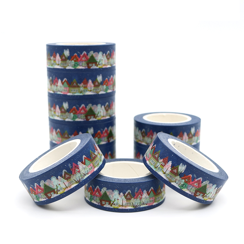10m*15mm Christmas Series Colorful Houses Washi Paper Masking Tapes Decorative Tape Scrapbooking Stickers Diary Decals 1 PCS
