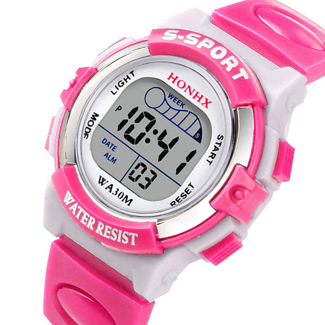 #5001Waterproof Children Boys Digital LED Sports Watch Kids Alarm Date Watch Gif
