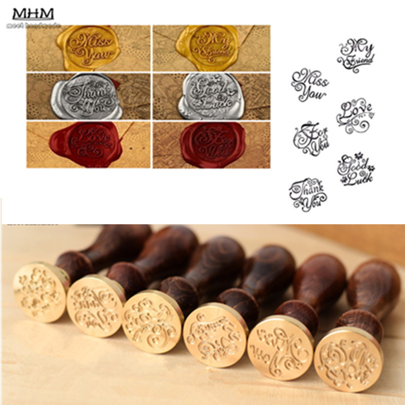 Personalized Vintage Wood Handle Badge Seal Stamp Wax Kit Set for ...