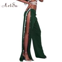 ArtSu Sexy Side Split Button Women Pants Autumn Casual Wide Leg Pant Fashion Pantalon Femme Trousers Beach Harem Pants ASPA30001