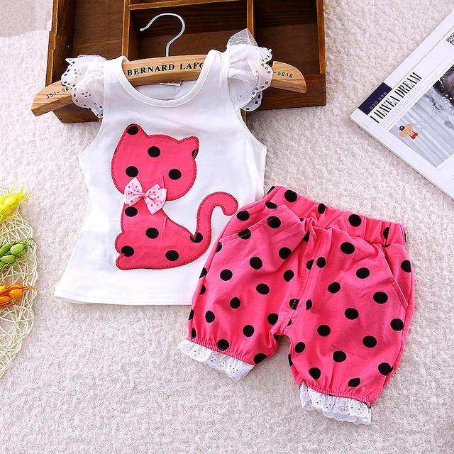 2017 summer Korean baby girls clothing set children bow cat shirt+shorts suit 2pcs kids polka dot clothes set suit free shipping