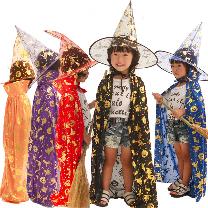 Wholesale 20pcs 80cm children adult kid halloween party witch death cloak cape hat printing pumpkin bat ghost images 2pcs set