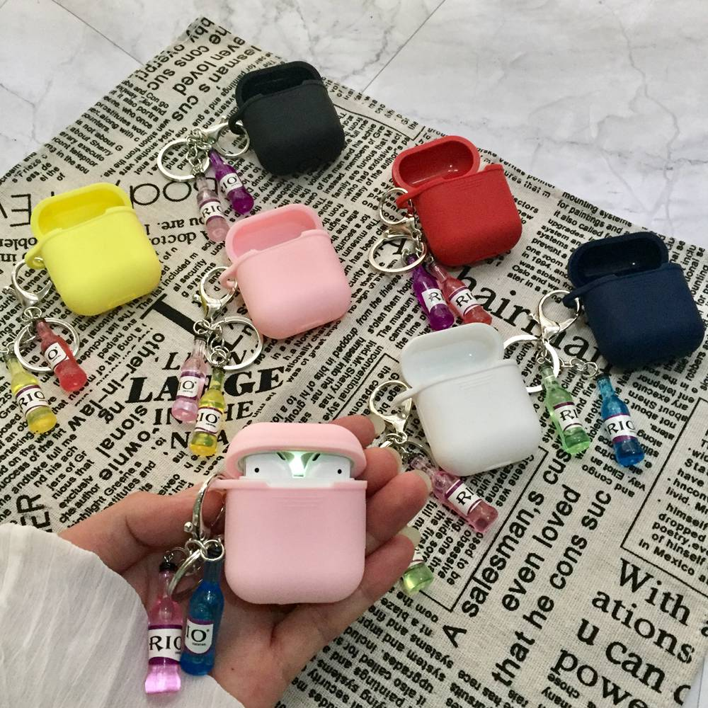 Fashion Cocktail Bottle Pendant Doll Funny Soft Silicone Case For Apple Airpods Shockproof Cover For Apple AirPods Earphone case in Earphone Accessories from Consumer Electronics