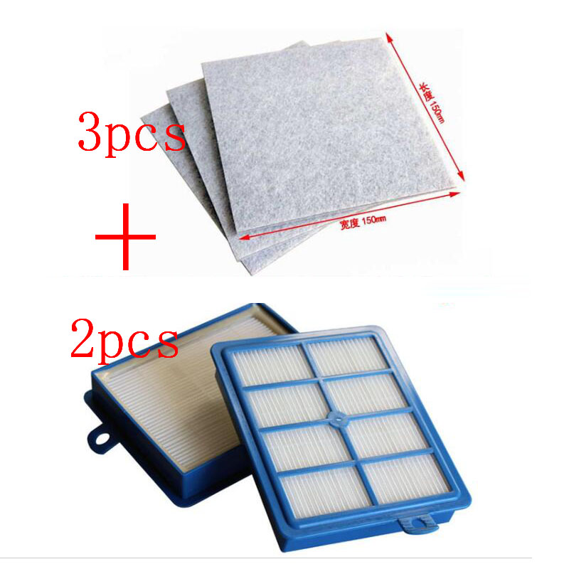 2PCS Hepa Filter H12 H13+3 PCS Motor cotton filter for Philips Electrolux Vacuum Cleaner replacement parts