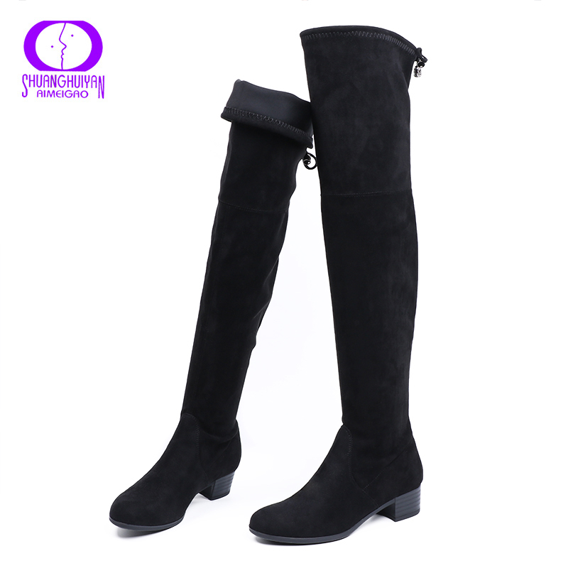 be6019105 AIMEIGAO Knee High Women Boots Faux Suede Leather Stretch Thigh High Boots  Fashion Women Sexy Over The Knee High Boots-in Over-the-Knee Boots from Shoes  on ...
