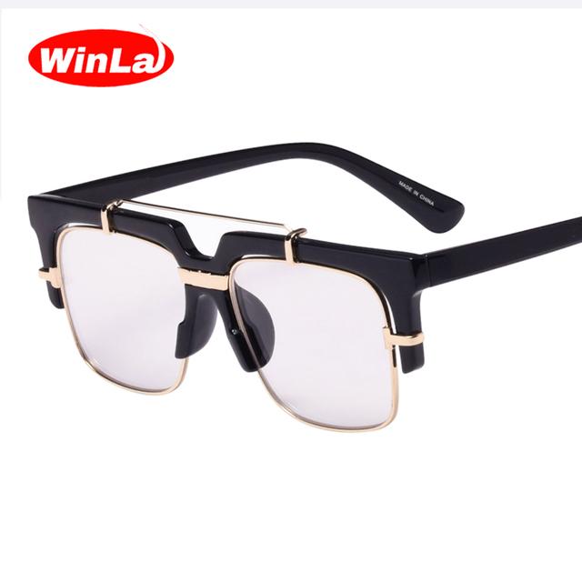 Winla new fashion square óculos transparentes óculos luneta dupla-ponte estilo vintage elegantes óculos de lentes ópticas wl1012
