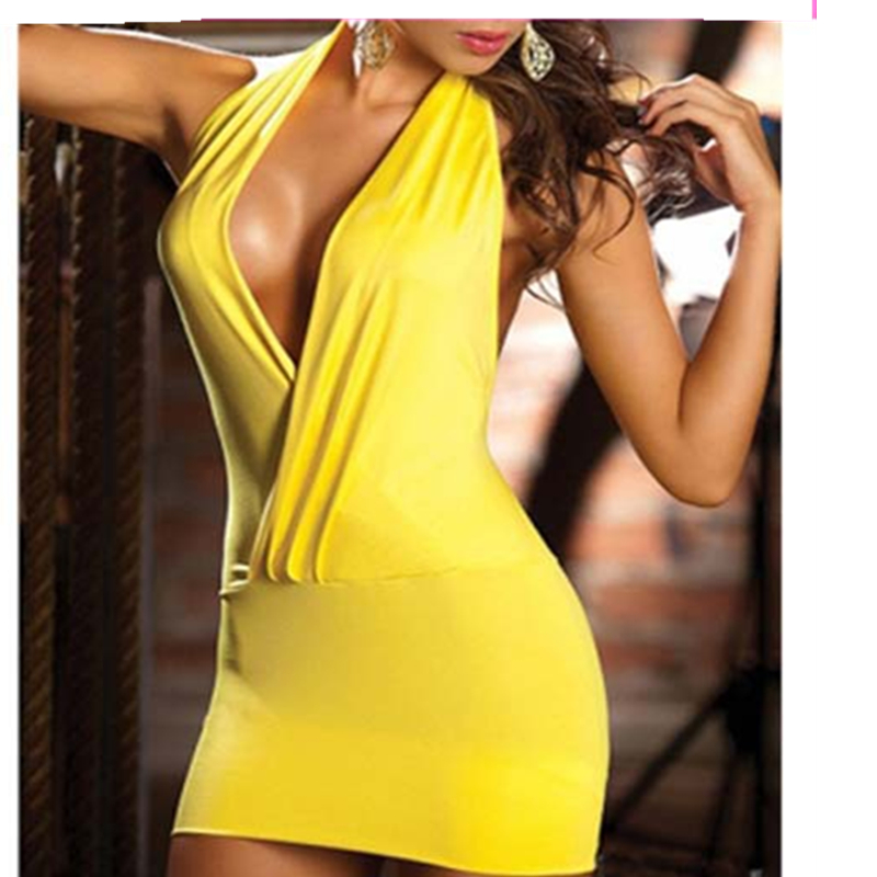 Deep V New <font><b>2014</b></font> Hot Sale American Style Summer Women Dress <font><b>Sexy</b></font> Night Club, Black And Yellow Club Dresses Women. image