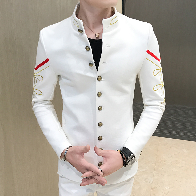 Korean Mens V-neck Casual Small Suit Slim Fit Stand Collar Embroidery Wedding 2-piece Set Dress Suit Jacket+Pant With Rivets