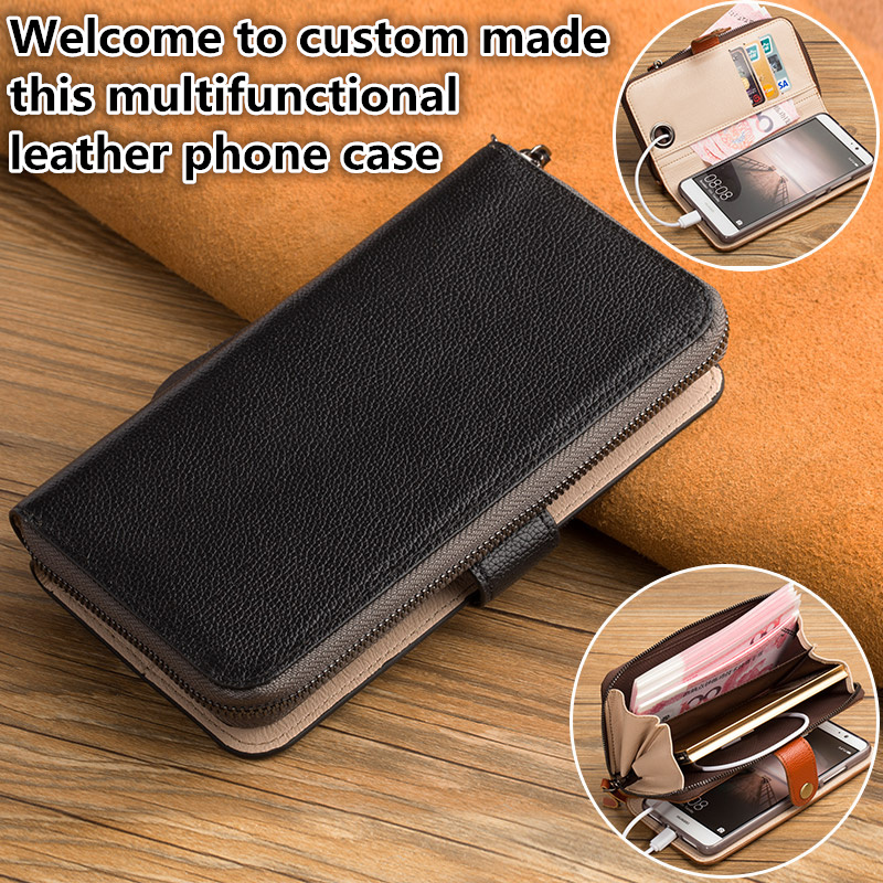HY08 Genuine leather wallet case with card holders for Huawei Honor 6X phone case for Huawei Honor 6X cover case