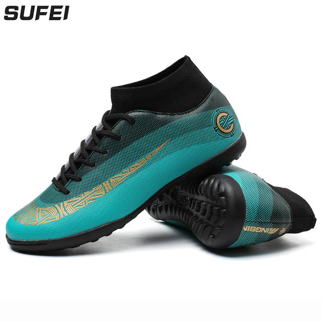 c2578d277f2 placeholder sufei Men Soccer Shoes High Ankle Superfly Football Boots TF Kids  Indoor Futsal Sock Cleats Lace