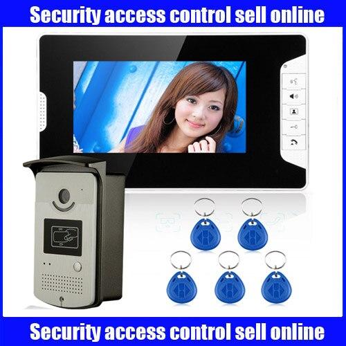 Freeship Home Color Video door phone Bell intercom Kit 7 LCD Monitor 1200TVL IR Camera