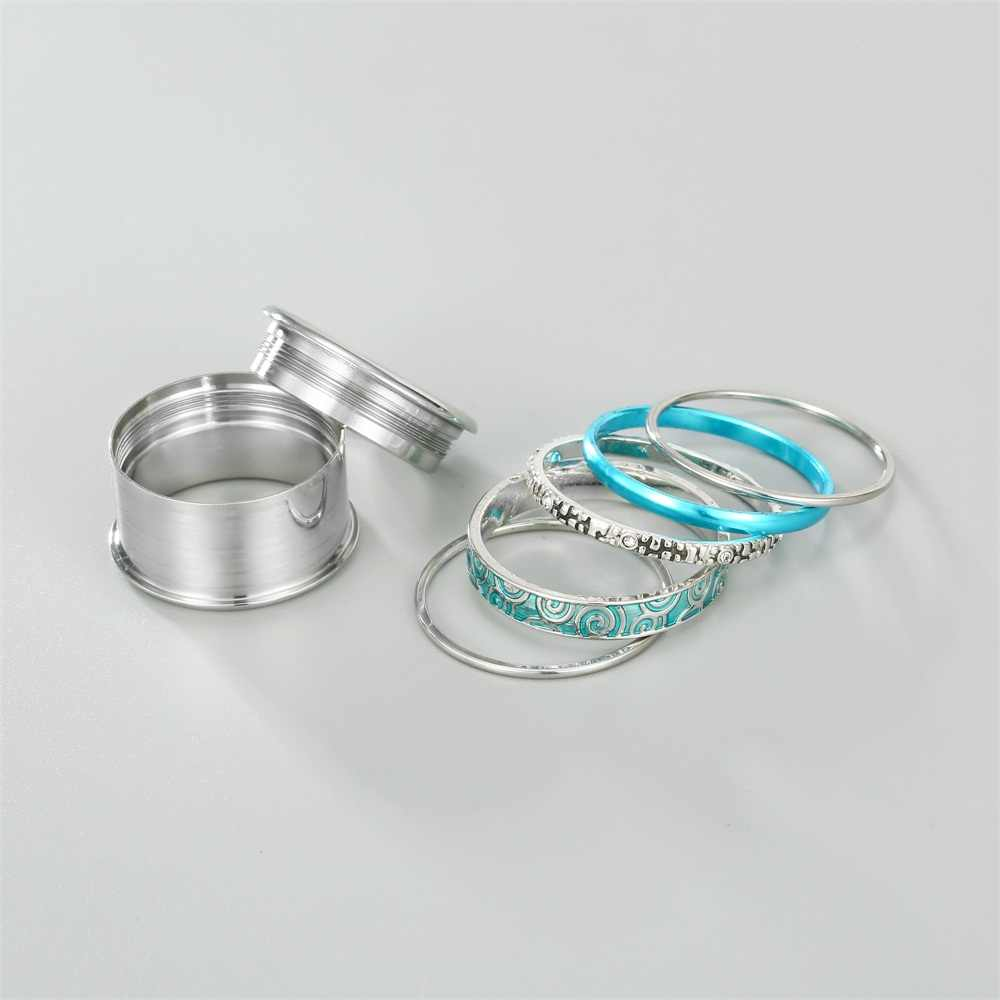 Floya Love แหวนชุดผู้หญิงส่วนบุคคลแหวนสแตนเลสชั้น Vintage เปลี่ยนได้แหวน Femme