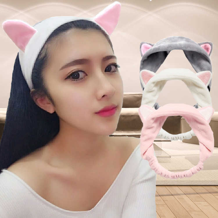 2019 New Cute Fashion Women Girls Cartoon Cat Ears Soft Cotton Headband Hairband Party Halloween Headdress Hair Accessories