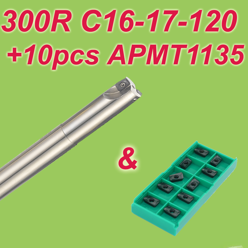 Free Shiping 1pcs  300R C16-17-120 + 10pcs APMT1135  Discount Face Mill Shoulder Cutter For Milling Machine new free shiping 1pcst2139 c10 4r 100 10pcs p3200 d08 discount insertable ball precision end mill for milling machine on sale