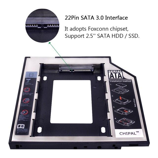 CHIPAL aluminio 2nd segundo hdd Caddy 9,5mm SATA 3,0 Optibay 2,5 ''SSD DVD CD-ROM carcasa adaptador Disco Duro caja de carcasas