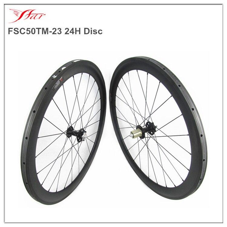 Легкий CX углерода трубчатые колеса 50 мм для гоночный велосипед, 700C гоночный велосипед колесной с FSE360 диск концентратор, 6 Болты 24 h 1380 г