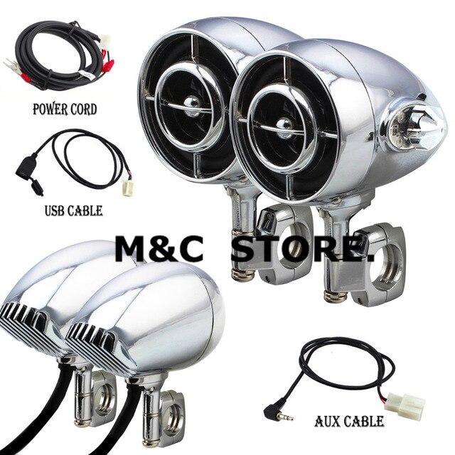 Haut-parleur Audio de moto noir Chrome Harley | Taille de 1 /1.25, son Hi-Fi MP3/WMA, Bluetooth USB/AUX