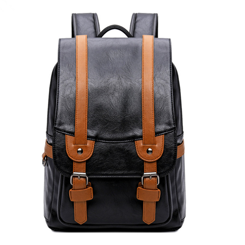 College Middle School Student Schoolbag Stitching Contrast Color Pu Waterproof Male Retro Backpack Men Bags Travel Laptop Bag Kids & Baby's Bags