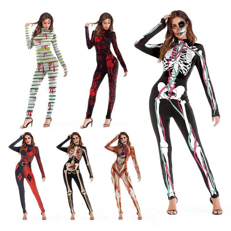 Vintage Skeleton Scary Costume Funny Playsuit Skinny Jumpsuit Long Sleeve Bodysuit 3D Print Skulls Zombie Halloween Cosplay Suit