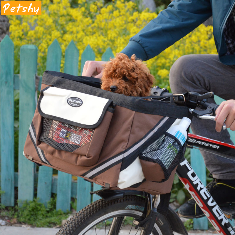 Petshy Portable Pet Dog Bicycle Carrier Bag Basket Puppy Small Dogs Cats Travel Removable Bike Carriers Seat Bag Pets Products