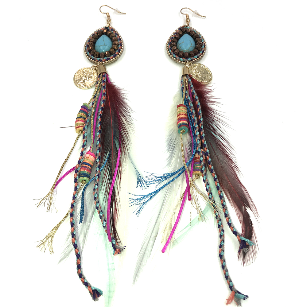 HTB1FY1rPpYqK1RjSZLeq6zXppXae - New handmade Ethnic jewellery vintage dangle feather charm earrings multi layers tassel charm earrings for women