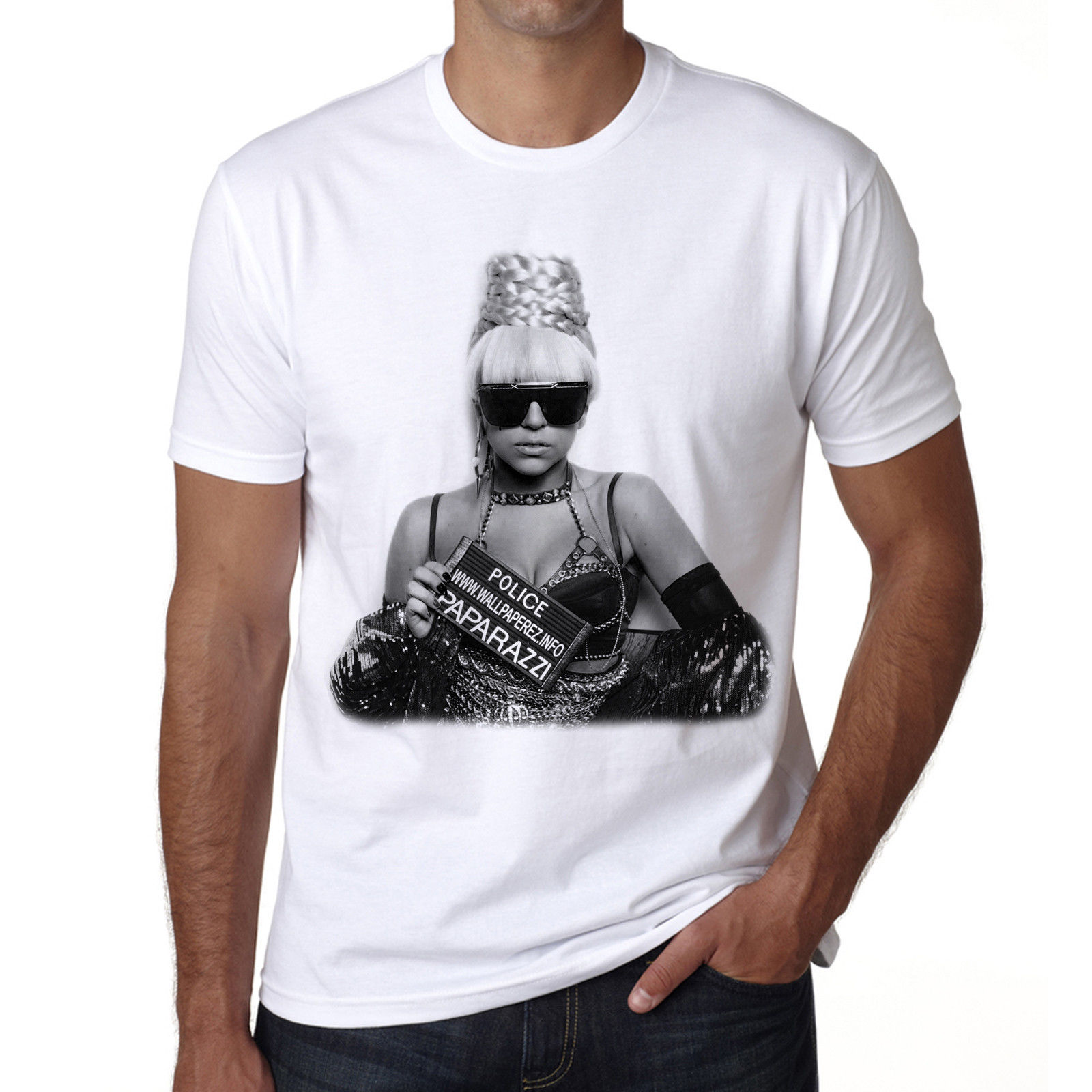 Lady Gaga , celebrite, star, t-shirt coton blanc, cadeau ideal