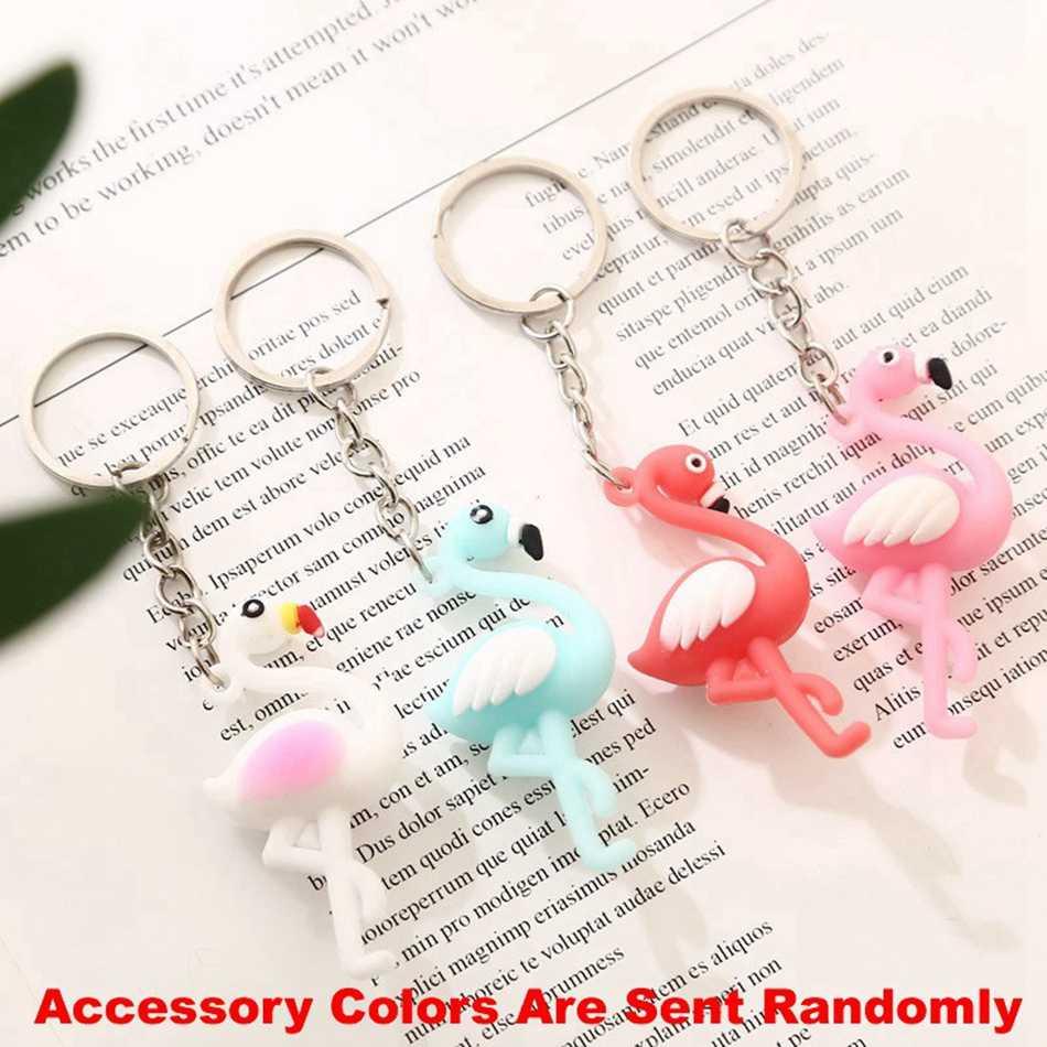 Flamingos bonito Chaveiro Chave Anel de Presente Para As Mulheres Meninas Saco Dos Desenhos Animados Pingente Figura PVC Encantos Chaveiro Jóias Porte clef