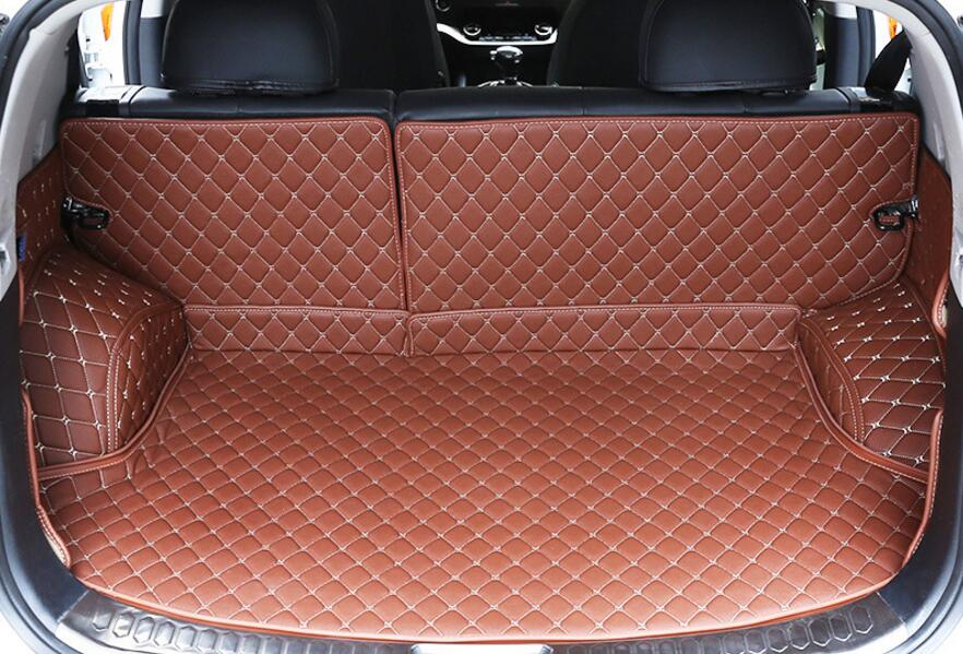 Luxury 5 Pcs 3 Colors Cargo Liner Car Trunk Mat For KIA Sportage R 2015 Carpet Interior Floor Mats Leather Pad Car Styling