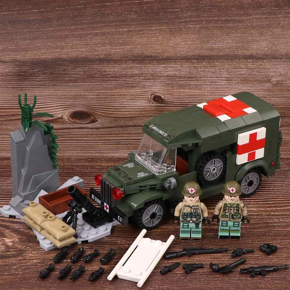 WW2 US Army medical vehicle Swat Police Military Weapon Accessories Playmobil City Mini Figures Parts Original Blocks Model Toy