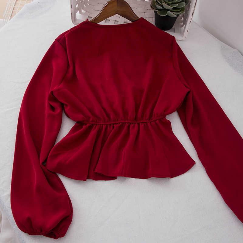 204d293f5ec2 ... Peplum Top White Blouse Blusas Mujer De Moda 2019 Kimono Womens Tops  And Blouses Ruffle Deep ...
