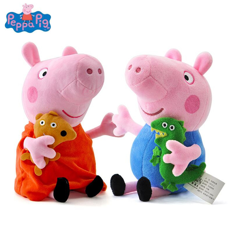 Peppa Pig 19CM Pink Pig Plush Toys High Quality Hot Sale Soft Stuffed Cartoon Animal Doll for Children's Family Party genuine 1pcs 19 30cm plush pig toy pink peppa pig george high quality hot sale floss cartoon animal doll for children s gift
