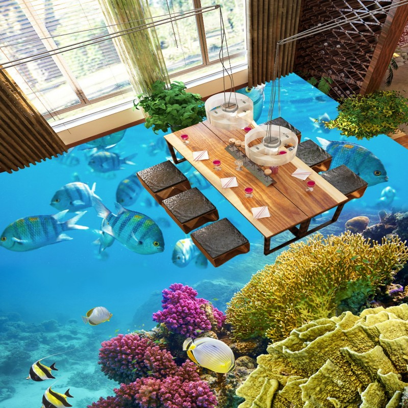 Free Shipping Aesthetic Tropical Fish Coral Toilet Bathroom Bedroom 3D stereo Floor stickers wallpaper mural