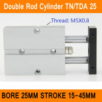 TN25 TDA Twin Spindle Air Cylinder Bore 25mm Stroke 10 45mm Dual Action Air Pneumatic Cylinders
