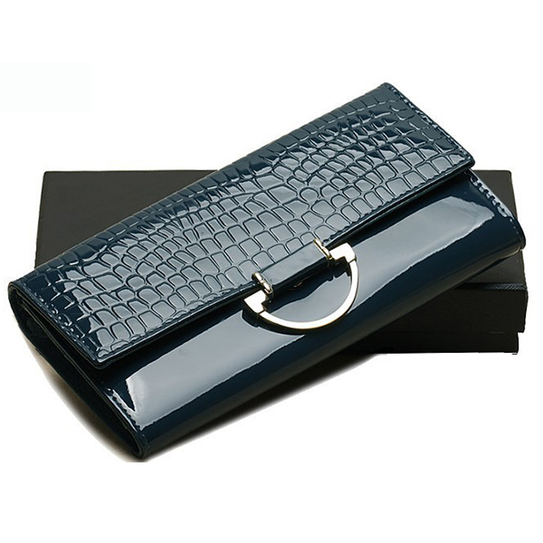 ФОТО Women Crocodile Genuine Leather Wallet Trifold Cellphone Clutch Wallet Long Female Metal Ring Buckle Leather Purse Card Holder