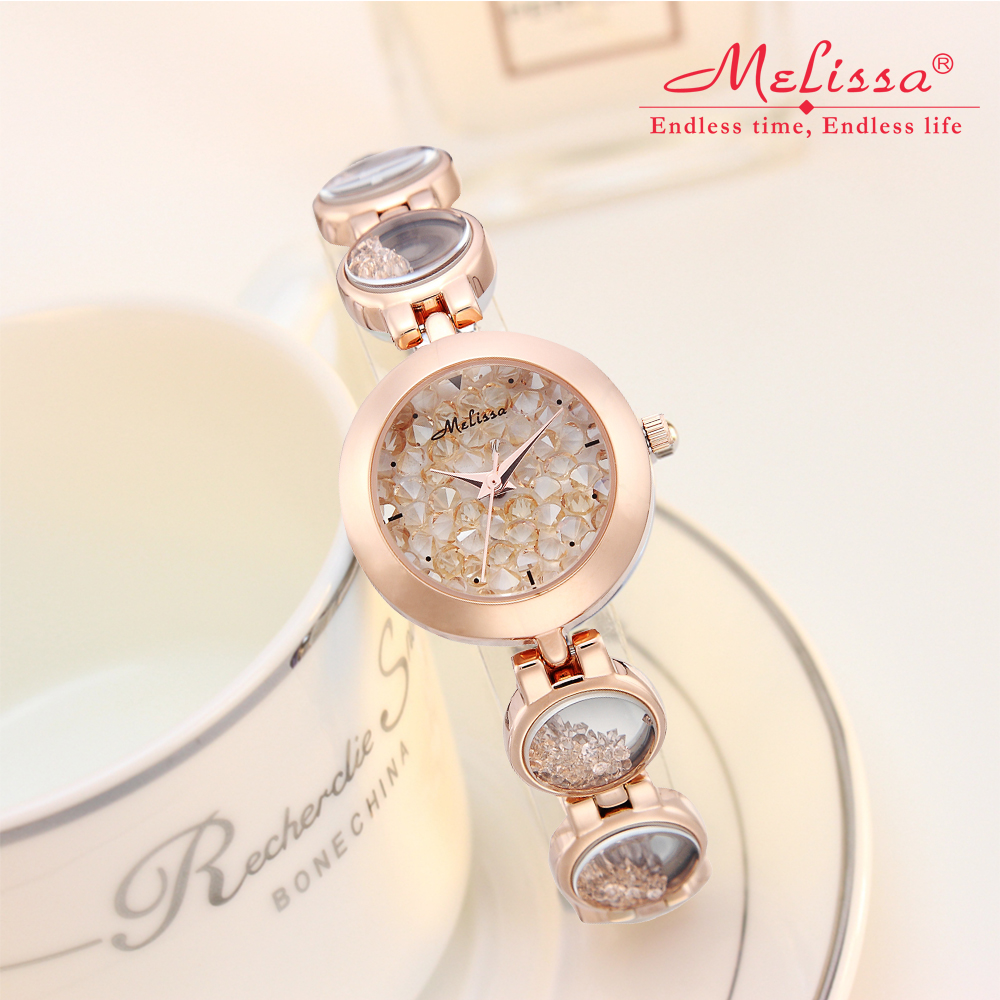 Melissa Lady Women s Watch Luxury Hours Japan Quartz Fashion Fine Clock Chain Bracelet Rhinestones Crystal