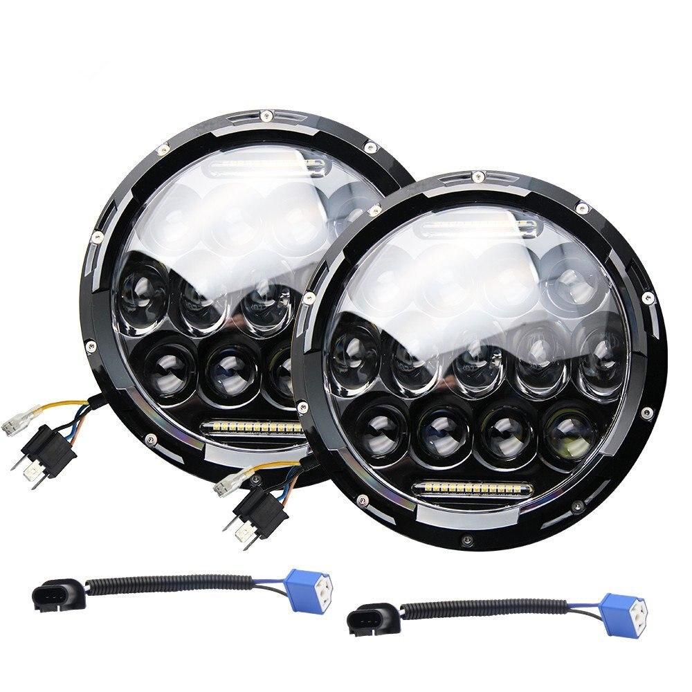 Pour Lada 4x4 urbain Niva 7 Pouce 75 W Phares 9000 Lumens Salut/Lo Faisceau Avec Feux de jour Running Light (DRL) pour Jeep Wrangler JK TJ LJ