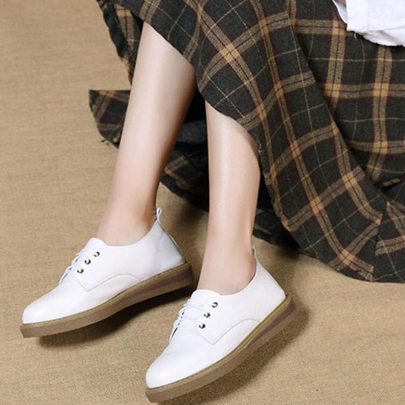 Women Leather Flats White Casual Low Heels Shoes Spring 2019 Lace Up Flats Women Handmade Genuine Leather Women Flats SoftWomen Leather Flats White Casual Low Heels Shoes Spring 2019 Lace Up Flats Women Handmade Genuine Leather Women Flats Soft